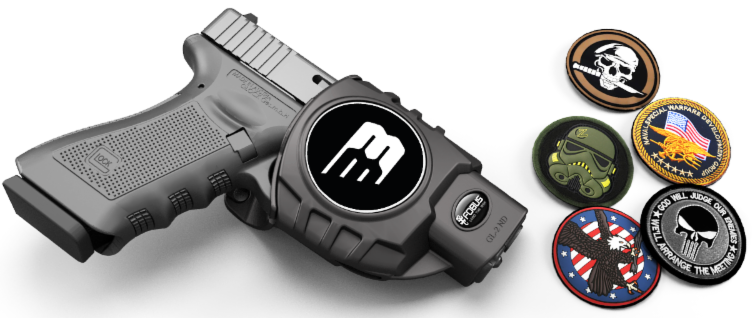 Tribe ID Platform allows users to swap out patches to identify themselves via their holster. (Photo: Black Bunker)