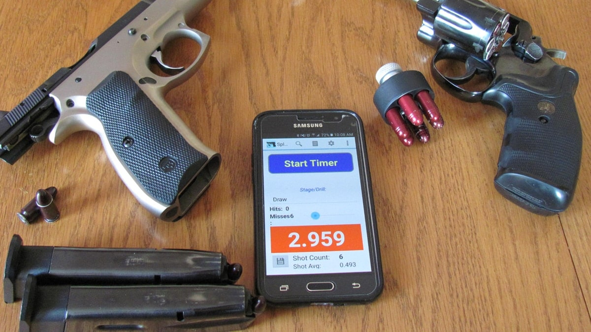The CZ pistol and Smith & Wesson revolver used for testing. The apps are a great dry fire tool. (Photo: AndyC)