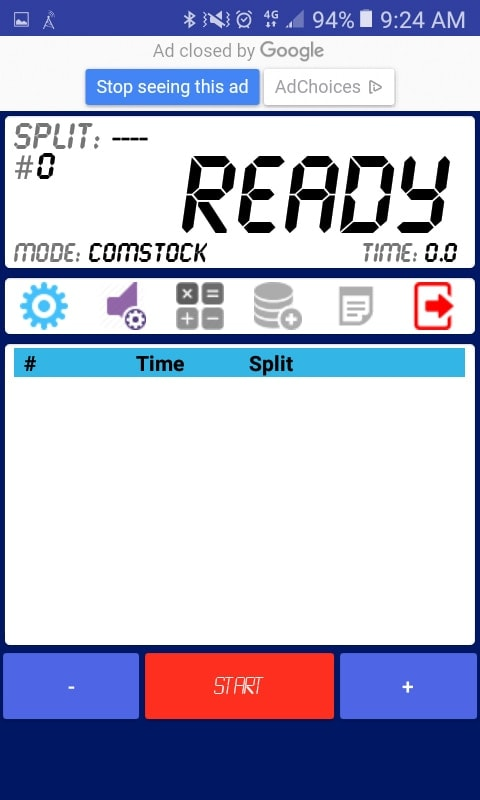 IPSC Shot Timer's interface is clean, with unobtrusive ads, and minimalist. (Photo: Andy C)
