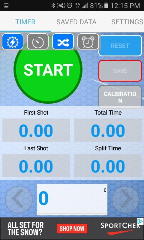 Here's Practical Shooting Timer Lite's main screen. This screenshot is about as much functionality as I ever managed to get out of it. (Photo: Andy C)