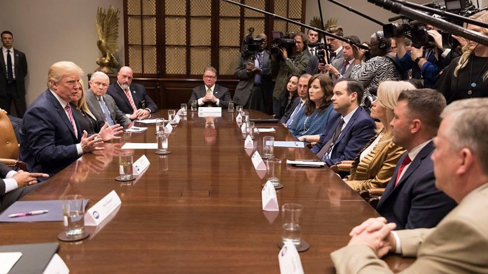 President Trump meeting with state and local officials to discuss school safety on Feb. 22, 2018, at the White House. (Photo: Shealah Craighead/White House via Facebook)