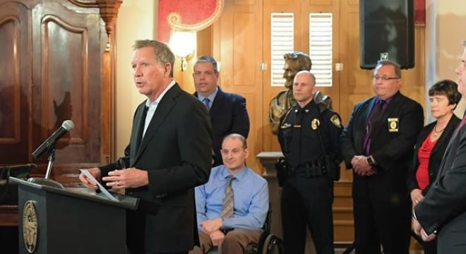 """Kasich says there are instances in which """"data is not being reported"""" to NICS in a timely way, leading to guns in the hands of those who shouldn't have them. (Photo: Kasich's office)"""