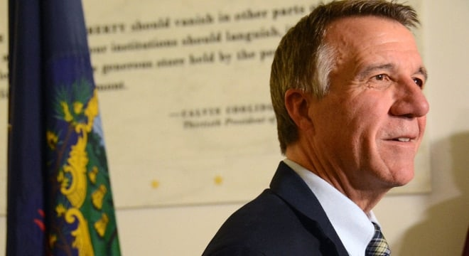 Gov. Phil Scott says the trio of gun bills headed to him still square with Second Amendment rights. (Angela Evancie/Vermont Public Radio)