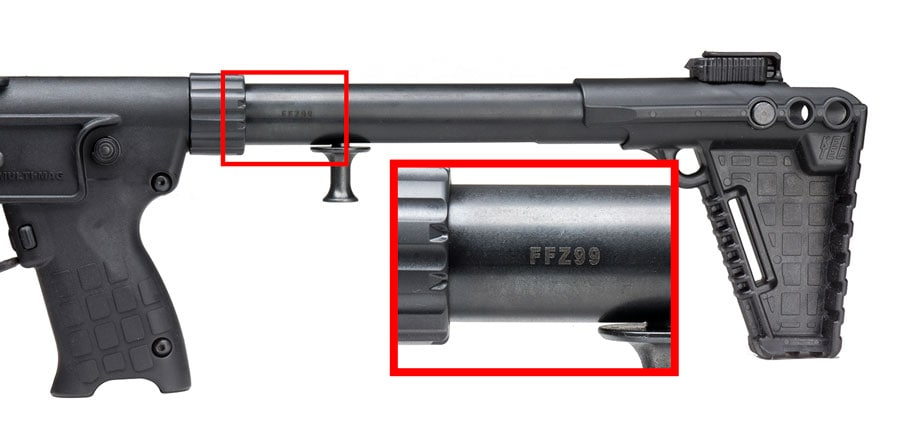 The serial number on Kel-Tec Sub-2000s are found on the stock tube. (Photo: Kel-Tec)