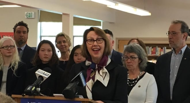 Oregon Attorney General Ellen Rosenblum, seen here at a press conference last month, is a strong supporter of the state's new gun seizure order law. (Photo: Rosenblum's office)