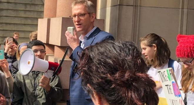 """I support a ban on 'assault-style' weapons,"" Wheeler told student activists at City Hall on Friday. (Photo: Wheeler/Twitter)"