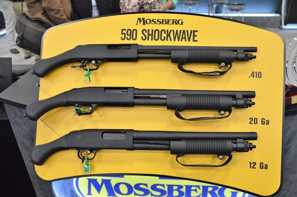 The .410 bore offering is the latest in Mossberg's 590 Shockwave series, and is a pound lighter than the 12 gauge paterfamilias of the family tree (Photos: Chris Eger/Guns.com)