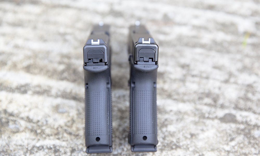 rearview of the different look of the gen 4 and gen 5 glock 19 pistols