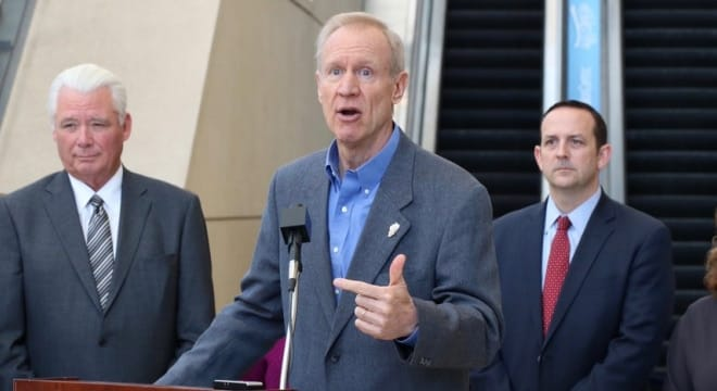 Rauner made clear this week he is not a fan of a gun dealer licensing measure now tracking in the General Assembly (Photo: Ill Governor's Office)