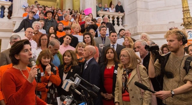 Rhode Island Gov. Gina Raimondo, seen here addressing a group of gun control advocates at the State House in March, could soon have a couple of new firearm bills on her desk. (Photo: RI Governor's Office)