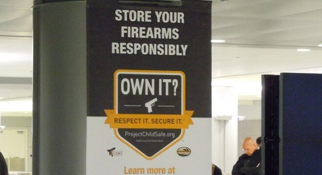 """The NSSF's """"Own It? Respect it. Secure it"""" safety initiative featured in Gov. Abbott's school and firearm safety plan this week. (Photo: Chris Eger/Guns.com)"""