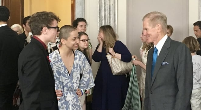 The bill is cosponsored by U.S. Sen. Bill Nelson, D-Fla, right, and supported by Marjory Stoneman Douglas High School gun control advocates in the March for Our Lives movement, left. (Photo: Bill Nelson/Twitter)