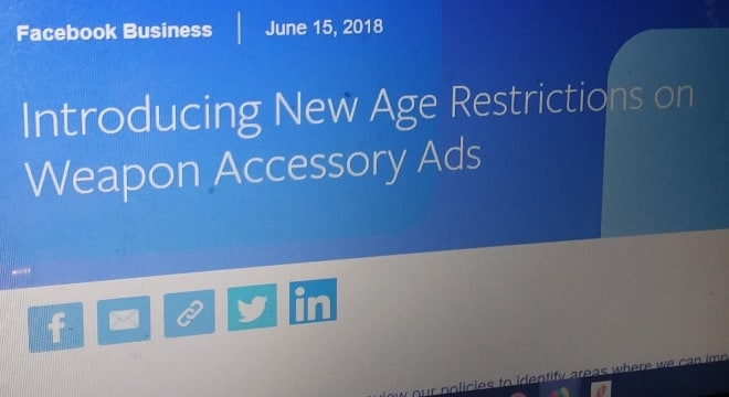 Facebook restricts gun accessories to adults only