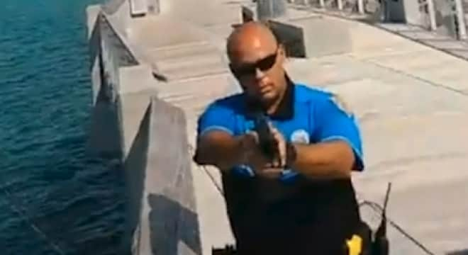 A group of Florida Carry members was detained and at least one had his firearm confiscated by police on a Miami Beach pier over the weekend. (Photo: Screenshot)