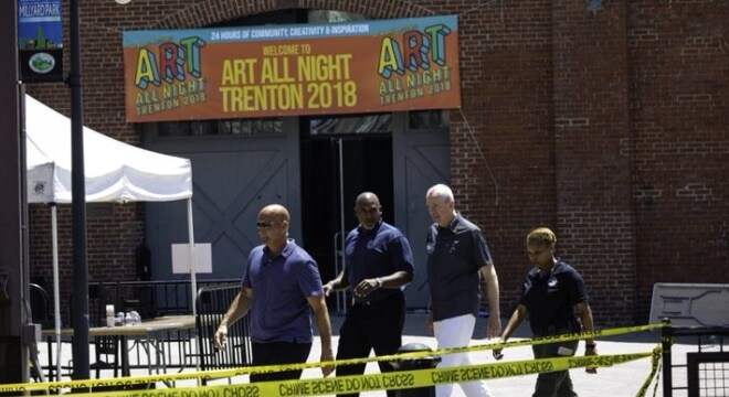 Gov. Phil Murphy visited the scene of the Trenton Art All Night festival on Sunday, where hours earlier 22 were injured, 17 by gunfire in what Mercer County Prosecutor Angelo Onofri said occurred because of gang-related tension (Photo: Murphy's office)