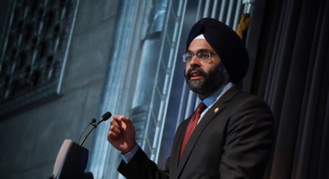 "New Jersey Attorney General Gurbir Grewal, seen here at a law enforcement event on Tuesday in Trenton, wants ""ghost gun"" makers to know that the state is closed under threat of legal action. (Photo: Grewal's office)"
