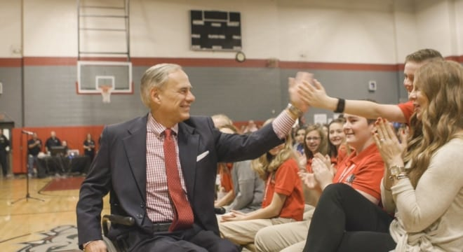 Republican Gov. Greg Abbott, seen here visiting a Texas middle school in February, has been getting a lot of letters from student groups concerning gun politics in recent weeks. (Photo: Governor's Office)