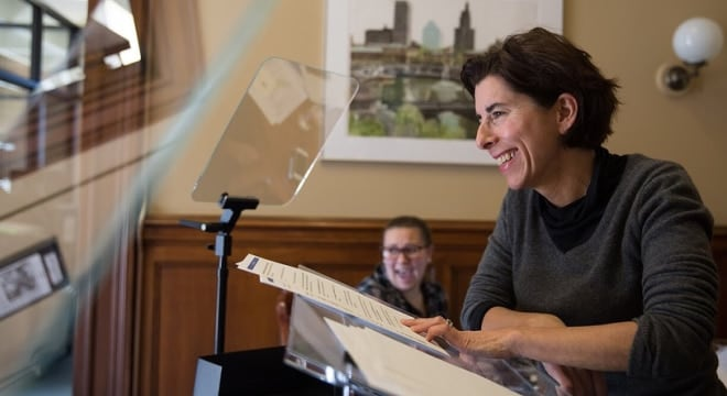 "Raimondo, a Democrat, said the ban and seizure bills will ""make Rhode Island a safer state."" (Photo: Governor's Office)"
