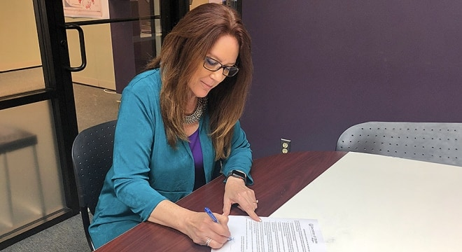 "Washington Secretary of State Kim Wyman certified the I-1639 ballot referendum for the November General Election but said ""concerns remain"" about the legality of its signature sheets. (Photo: Wyman's office)"