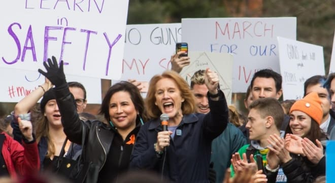 Mayor Jenny Durkan, seen here at a Seattle gun control rally in March, has introduced new firearms regulations to the City Council. (Photo: Durkan's office)