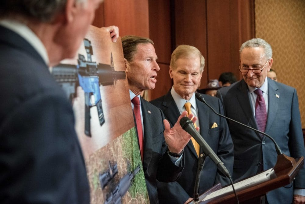 A number of Senate Democrats to include Bill Nelson of Florida, Chuck Schumer of New York and Richard Blumenthal of Connecticut decry the availability of 3D printed gun plans at a press conference on Tuesday (Photo: Blumenthal's office https://twitter.com/SenBlumenthal/status/1024385594582020099 )