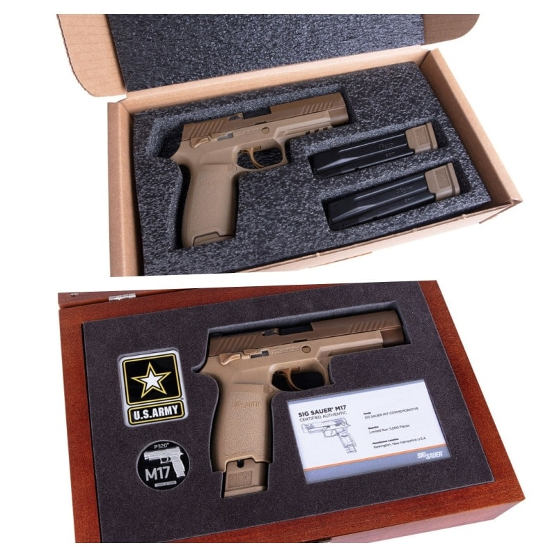Although it ships in plan cardboard, just as Uncle get it, Sig also sells an optional cherry-wood M17 Collector's Case for $199 that includes laser placement cuts for the pistol, coin and certificate. (Photo: Sig)