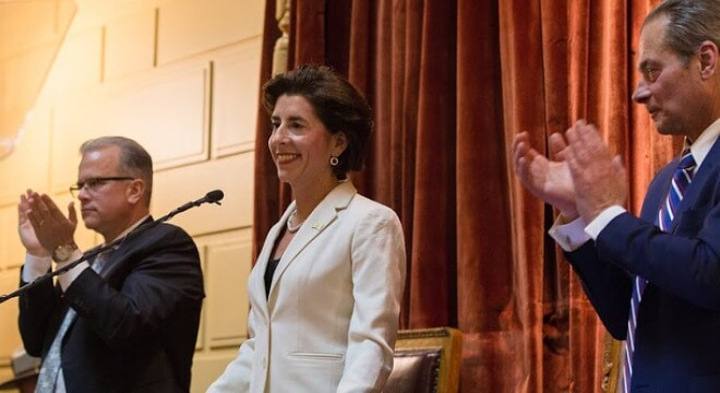 Raimondo, shown here at the Rhode Island State House, was criticised in her action by Republicans running for her office this November. (Photo: Raimondo's office)