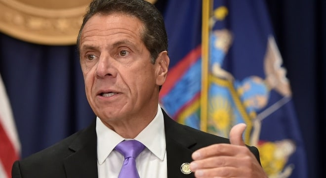 Gov. Andrew M. Cuomo, shown at an event earlier this week, now holds that the ammo regulations required by his landmark 2013 gun control package were not significant (Photo: Kevin Coughlin/Office of the Governor)