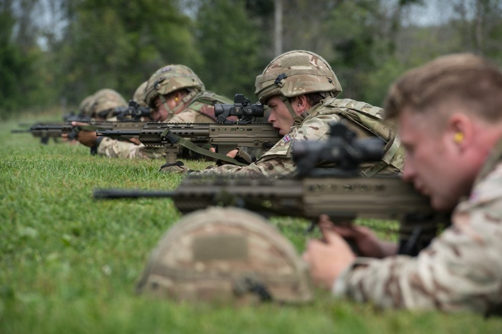 Members of the British Army (Regular Force) sharpen their marksmanship skills on Range D prior to the start of the Canadian Armed Forces Small Arms Concentration L85 enfield SA80