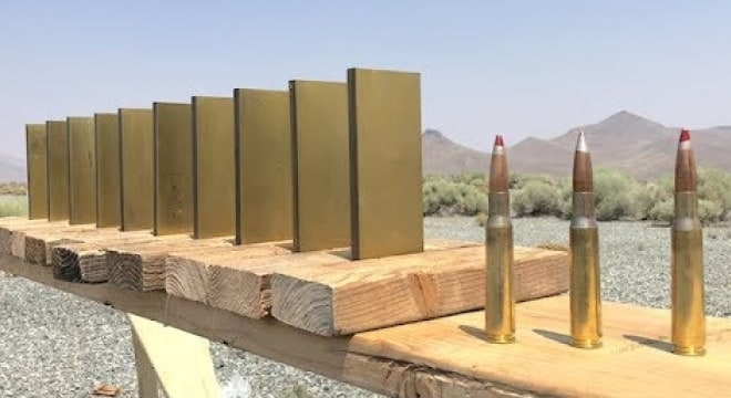 Brass-on-brass violence: Testing .50 cal BMG rounds against brass plates (VIDEO)