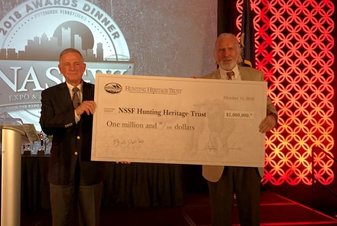 Steve Sanetti, NSSF CEO, left, and Bob Delfay, President of the Hunting Heritage Trust, announced the new $1 million effort last week (Photo: NSSF)