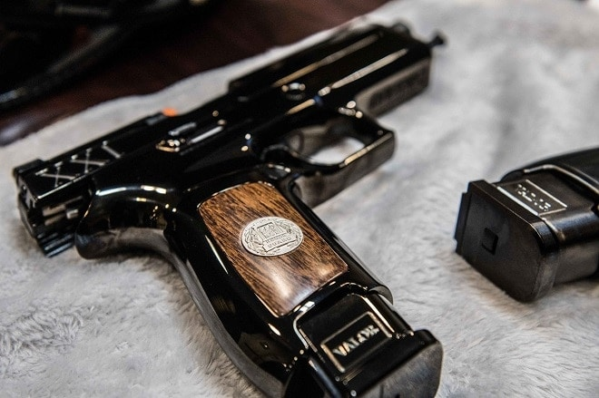 closeup of wood insert on gun