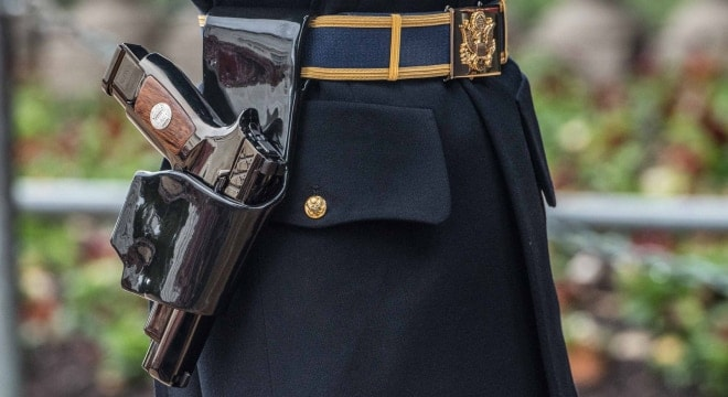 The Army notes that the changing of the guard ceremony last Thursday marked the first use of the Ceremonial M17 Tomb of the Unknown Soldier Pistol, the replacement of the Ceremonial M9 Tomb of the Unknown Soldier Pistol. (Photos: U.S. Army)