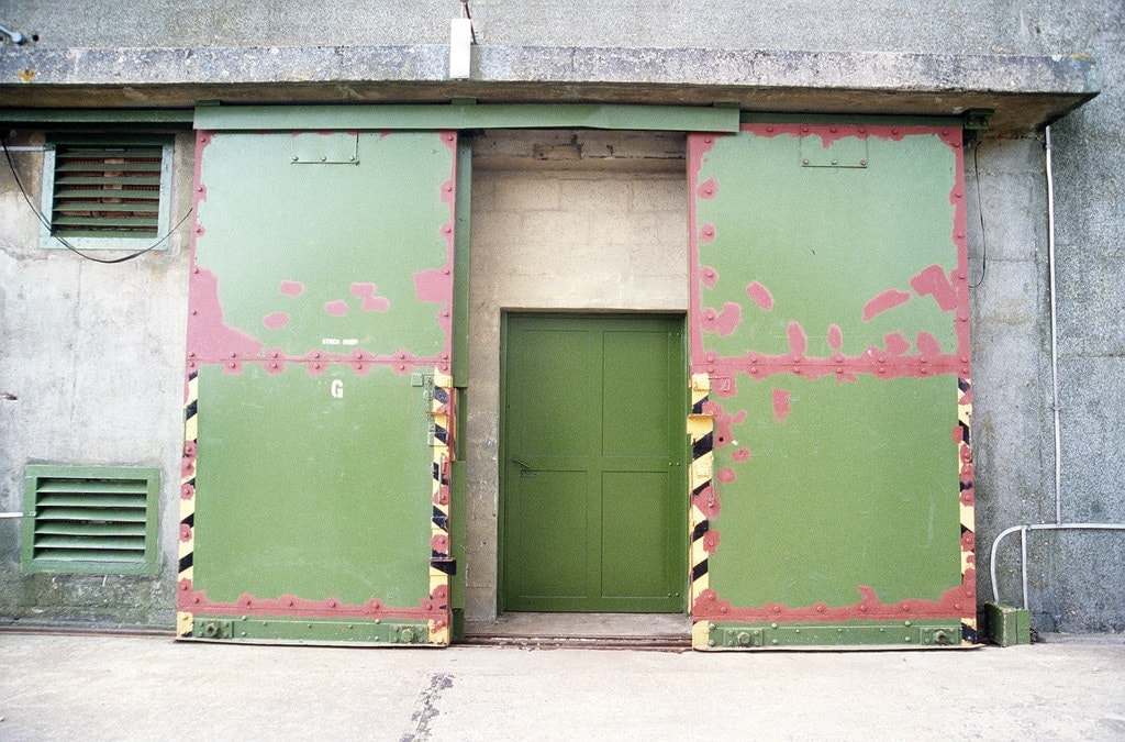 The entrance to an ammunition storage bunker.