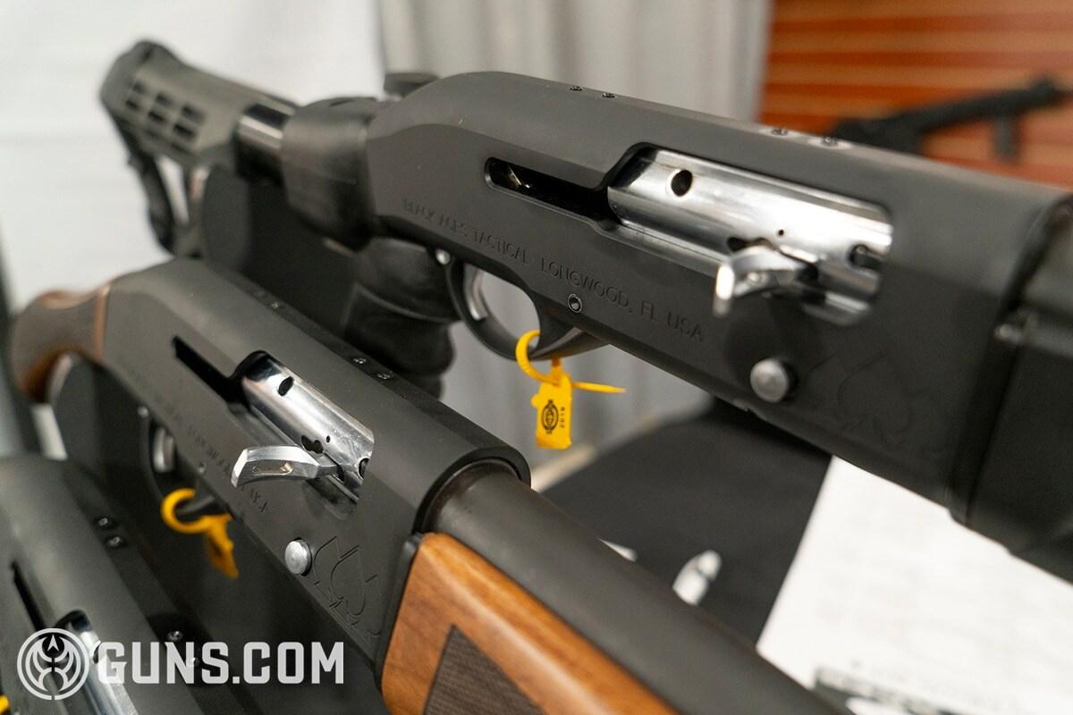 black aces tactical shotgun closeup shot