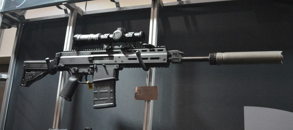 B&T's new APC308 DMR, complete with folding stock, was on display along with their Rotex-IIA suppressor (Photo: Chris Eger/Guns.com)