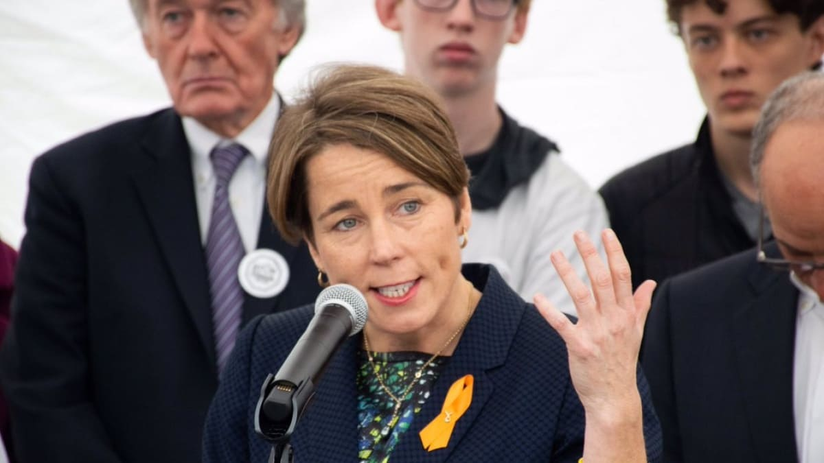 Healey, shown above at an event pushing for stronger gun laws last November, will now have to keep fighting the gun rights advocates as the case against her expanded gun ban moves forward. (Photo: Healey's office)