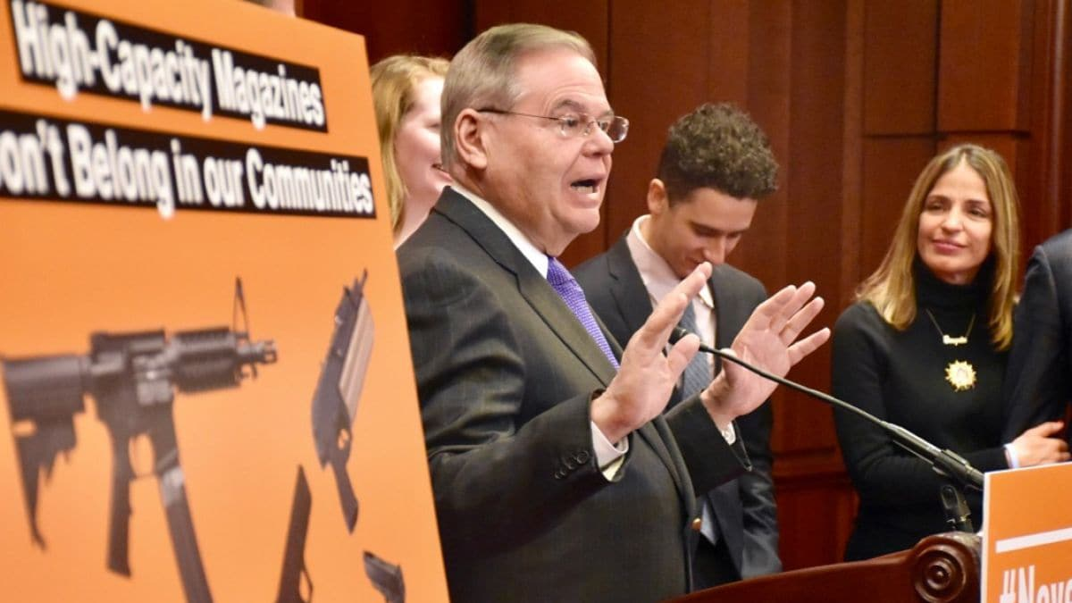 U.S. Sen. Bob Menendez, D-NJ, and fellow Democrats announced an effort to ban most magazines that can hold more than 10 rounds of ammunition. (Photo: Menendez's office)