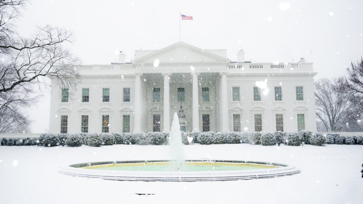 The North Portico fountain of the White House spouts during a snow storm Wednesday, Feb. 20, 2019. President Trump's adminstration this wek warned two gun control bills on background checks could get a cold reception if they are sent his way. (Photo: by D. Myles Cullen/White House)