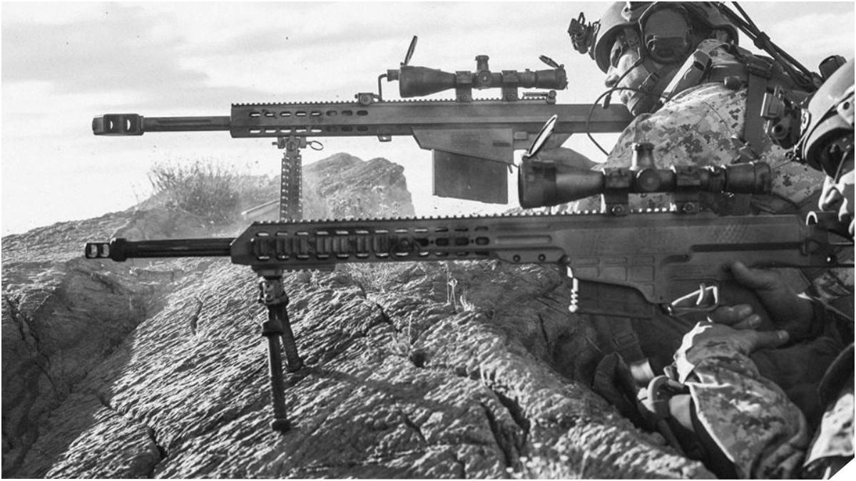 Barrett's bolt-action modular .30-caliber MRAD rifle, foreground, will join the M107 .50-caliber semi-auto, background, in wide-spread U.S. military service. (Photo: Barrett)