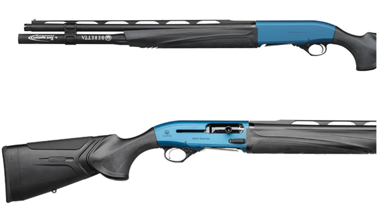 The new 1301 Comp Pro ships with a 10+1 magazine tube, blue Ergal stock and other features that differ from the standard 1301 Comp. Note the fiber-optic front site and mid-bead as well as the enlarged bolt release and cocking handle. (Photos: Beretta)