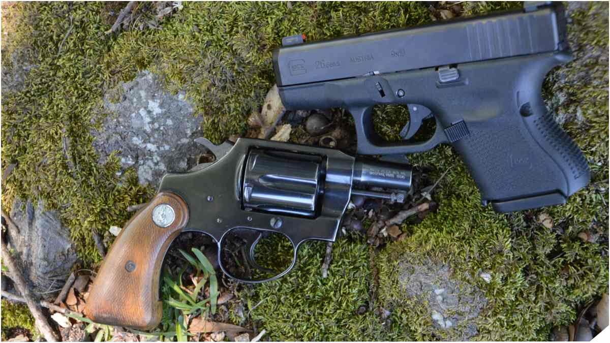 Colt Dick Special and Glock 26 Gen 5 on tree