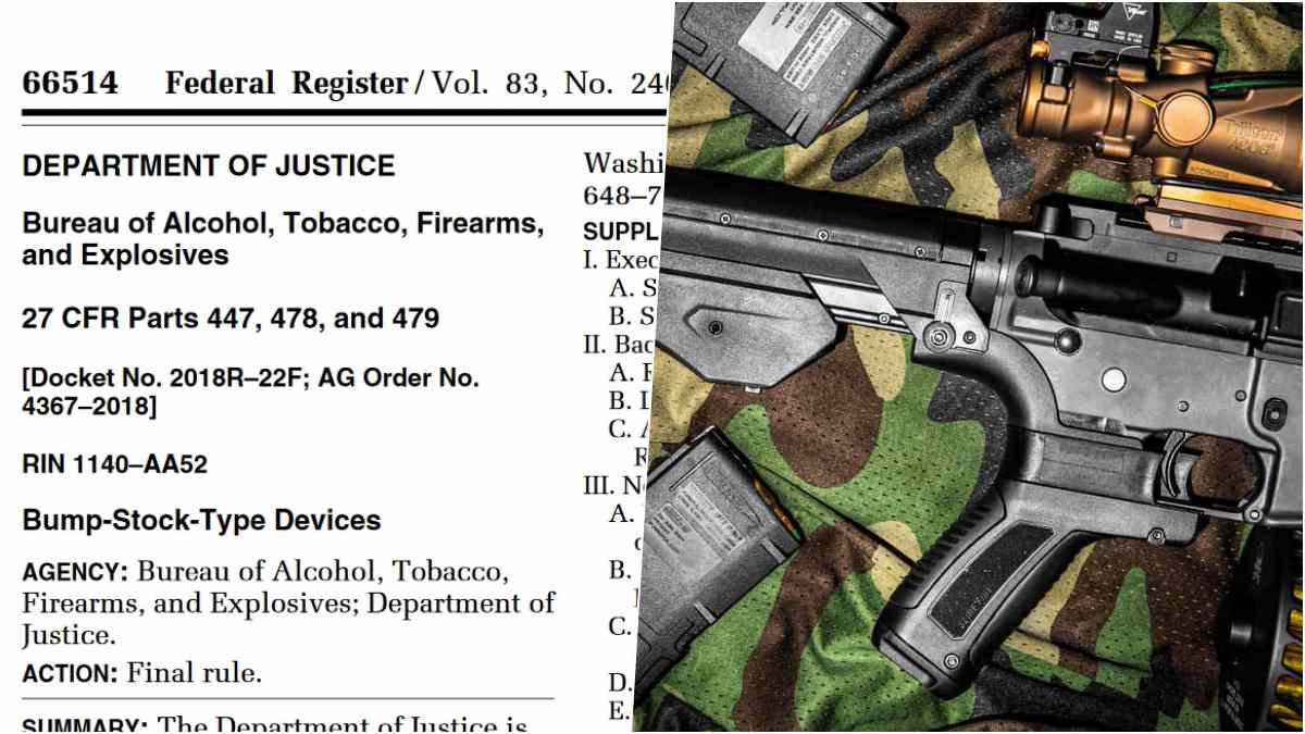 split screen with bump stock and screenshot of Federal Register rule