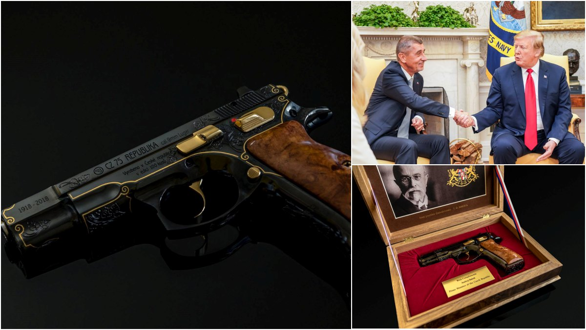 Czech Leader Presents Engraved CZ 75 To President Trump (PHOTOS)