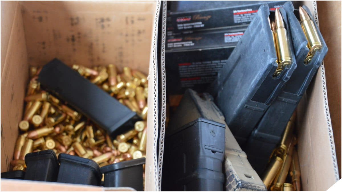 box of assorted ammunition