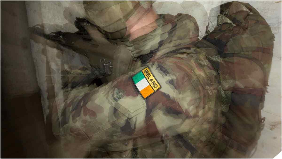 Irish Army soldier with IRELAND flash on shoulder