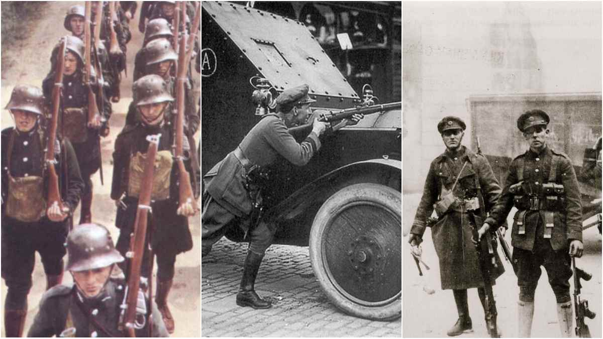 Irish Free State soldiers with Enfields, Rolls Royce Armored cars, and Webley revolvers