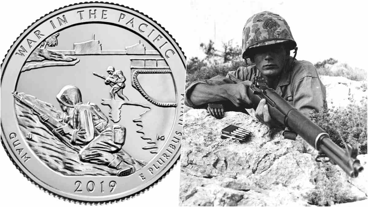 Guam 2019 Quarter design and a US Marine in 1943 with an M1 Garand rifle
