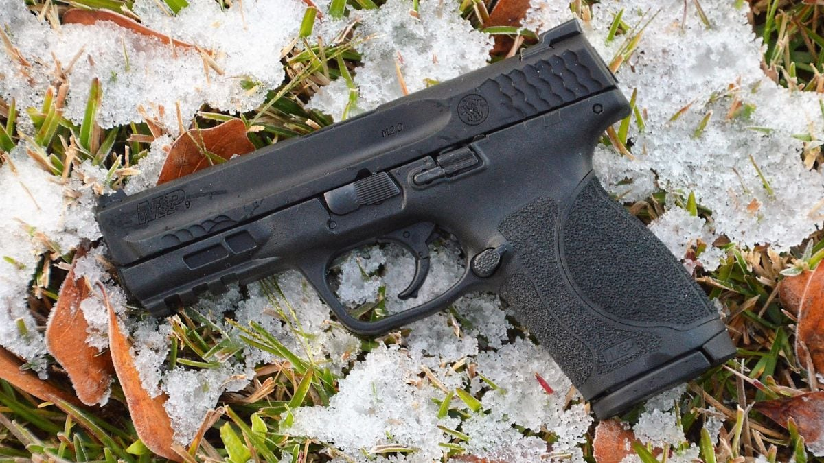 S&W M&P Compact 2.0 9mm pistol in the snow