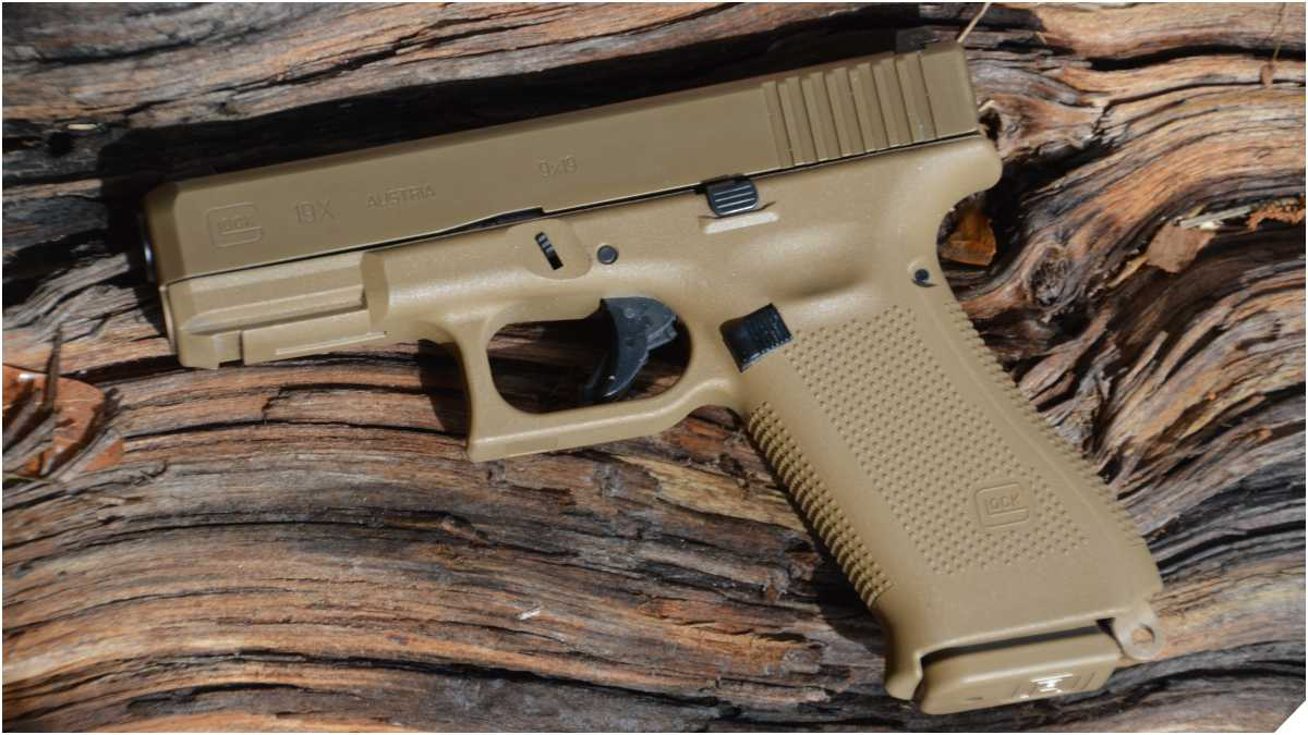 Glock 19X on a piece of weathered wood